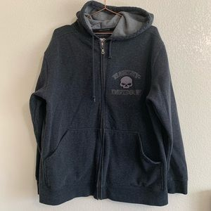 Harley Davidson | Dark Gray Zip Up Hoodie - MED